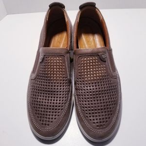 Ecco Mens Taupe Leather Mesh Loafers sz 10.5
